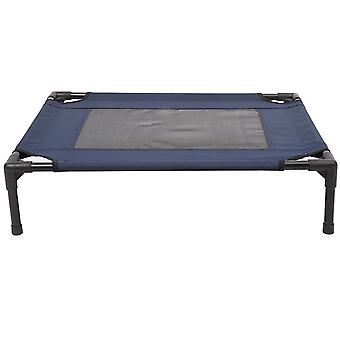 PawHut Dog Cat Elevated Raised Cot Bed Portable Camping Basket - Blue (Medium)