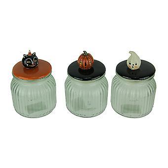 Set of 3 Pumpkin Peeps Vintage Look Halloween Glass Jars