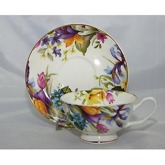 English Bone China Teacup and Saucer Spring Flowers