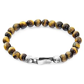 Anchor & Crew Brown Tigers Eye Outrigger Silver And Stone Bracelet