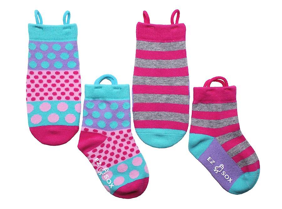 Filles Polka Dots & Stripes EZ SOX Chaussettes - 2 paires, 3 - 5 ans