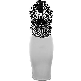 Panie wysokiej szyi krawat powrotem Koronki szydełkowe kobiet ołówek Party sukienka Bodycon