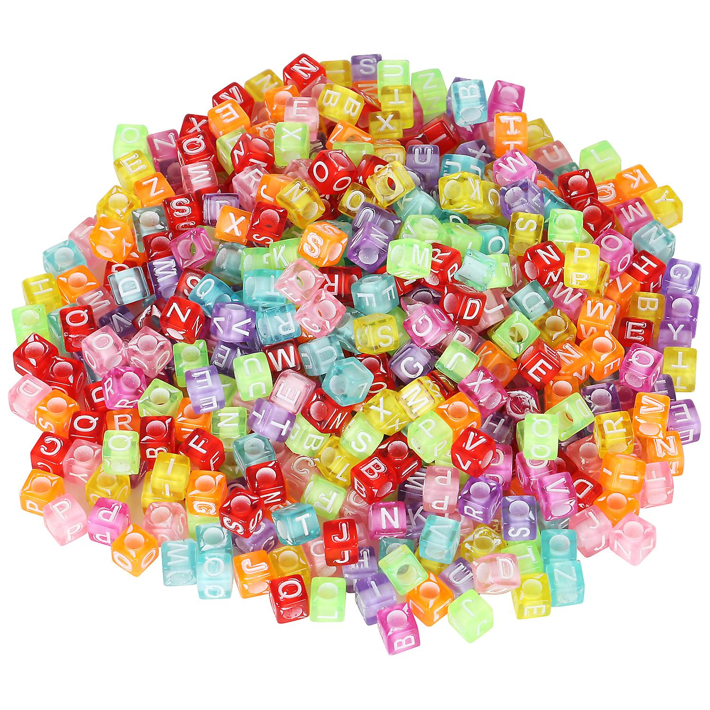 TRIXES Multi-Coloured Alphabet Acrylic Cube Beads