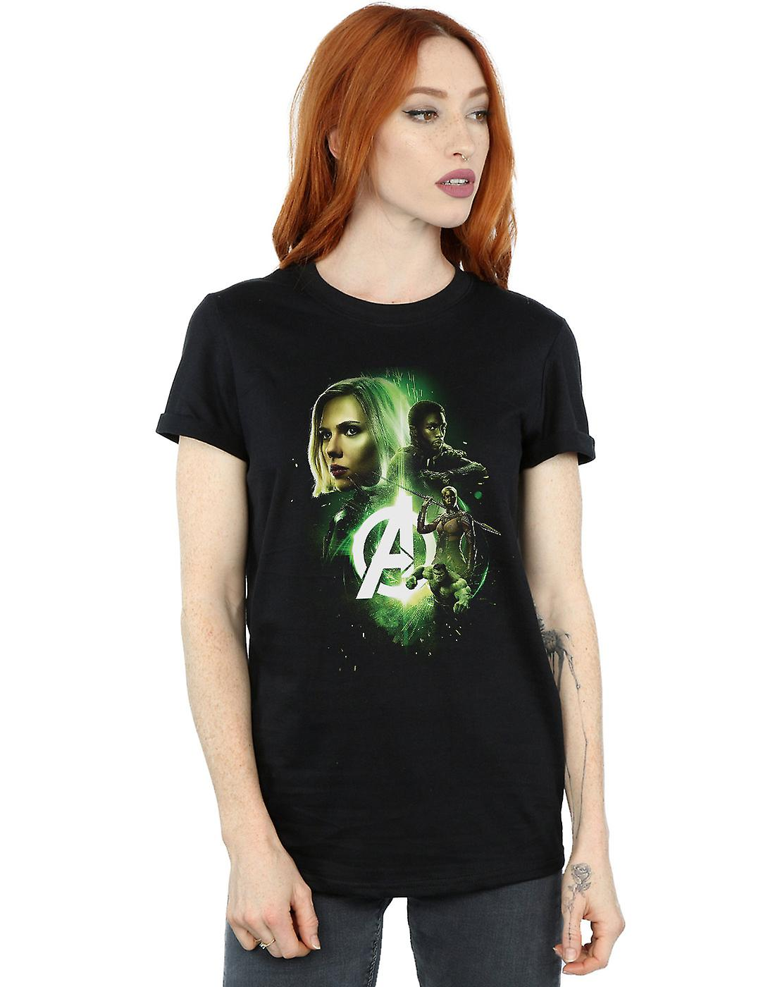 Marvel Women's Avengers Infinity War Widow Panther Team Up Boyfriend Fit T-Shirt