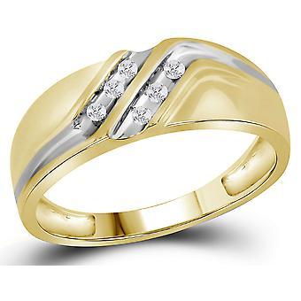 1/8 Carat (ctw) Mens Diamond Wedding Band in 10K Yellow Gold