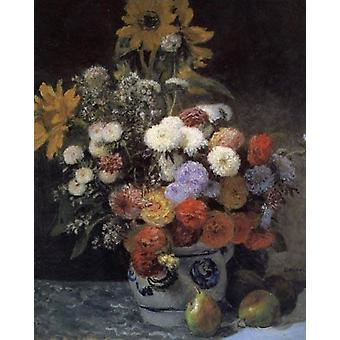 Sekoitetut kukat savi astiassa, Pierre Renoir, 64,9 x 54,2 cm