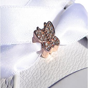 Rose Gold Crystal Butterfly Shoe Charm
