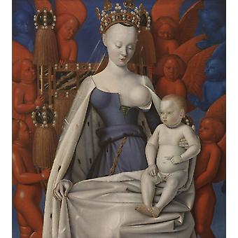 Virgin and Child Surrounded by Angels, Jean Fouquet, 50x45cm