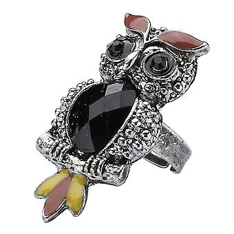 Vintage Style Tin Plate Owl Adjustable Ring