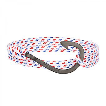 Rope Kirby svart sandblåst krok/hvit, blå og rød Paracord armbånd HLB-03BKS-p01