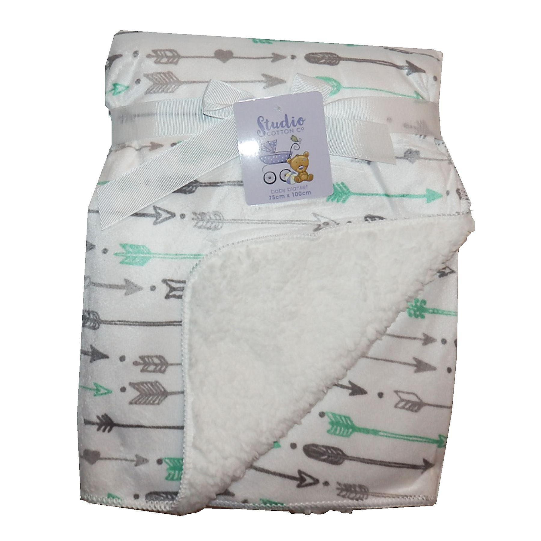 White Green Grey Arrows Mink Sherpa Fleece Lined Baby Blanket