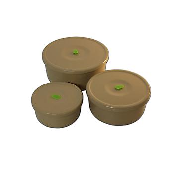 OLPRO Husk Storage Containers Full set 3 in 1 Round with Lids Microwave Safe