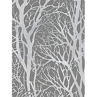 Boomtakken behang donker grijs en zilver als creatie 30094-3