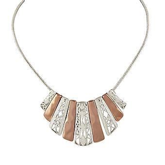 Eternal Collection Fanned Rose Gold And Silver Tone Filigree Leaf Fashion Necklace