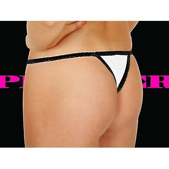 Premier Lingerie White Thong & Black Lace (PLnu7)
