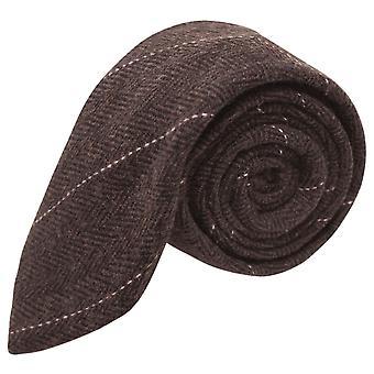 Luxe Graatvormige chocolade bruin Tie