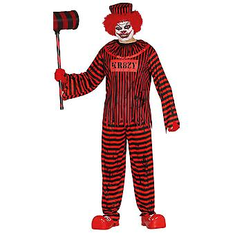 Mens psycho clown Halloween fancy dress kostuum