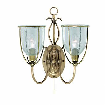 2 Light Indoor Wall Light Antique Brass With Seeded Glass Shades