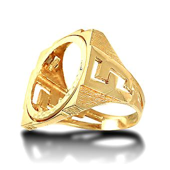 Jewelco London Men's Solid 9ct Yellow Gold Curb Links Square Full Sovereign Mount Ring