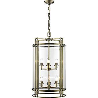 Diyas Eaton Pendant 6 Light Antique Brass/Glass