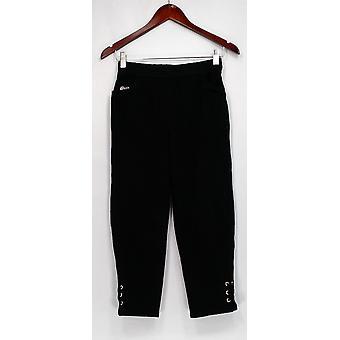Quacker Factory Pants XXS DreamJeannes Grommet Lace Up Details Black A302774