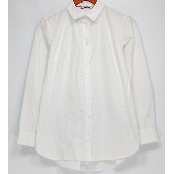 Isaac Mizrahi Live! Top lange mouw knop front blouse wit A281348