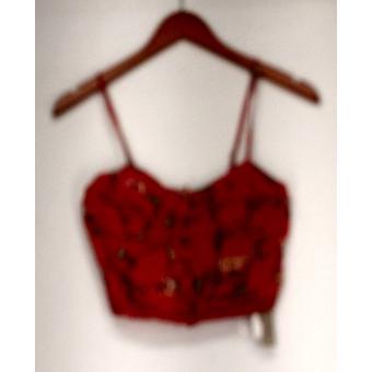 Billabong top bedrukt verfraaid knop ingedrukt Cropped hemd oranje
