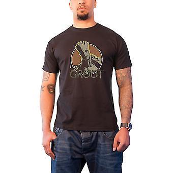 حراس الرجال الرسمية من قميص غالاكسي تي أنا غروت مارفل كاريكاتير أسود جديد