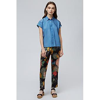 Brave Soul Loose Black Floral Print Trouser