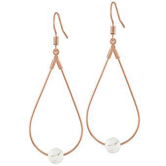 Eternal Collection Eclectic White Howlite Rose Or Tone Drop Teardrop Pierced Earrings