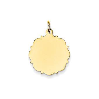 14k giallo oro solido lucido Engravable Gauge.013 disco Engraveable incanto normale - 1,5 grammi