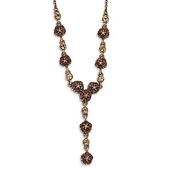 Fancy Lobster Closure Copper tone Lt. Colorado and Brown Crystal 15inch With Ext Y Necklace Jewelry Gifts for Women
