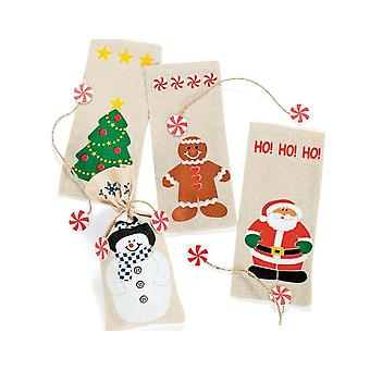 12 Printed Canvas Christmas Gift Bags with Ties | Christmas Party Loot Bags