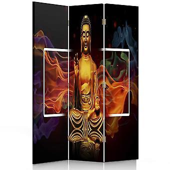 Divisor de habitación, 3 paneles, doble cara, giratorio 360, lienzo, Buda de oro 2
