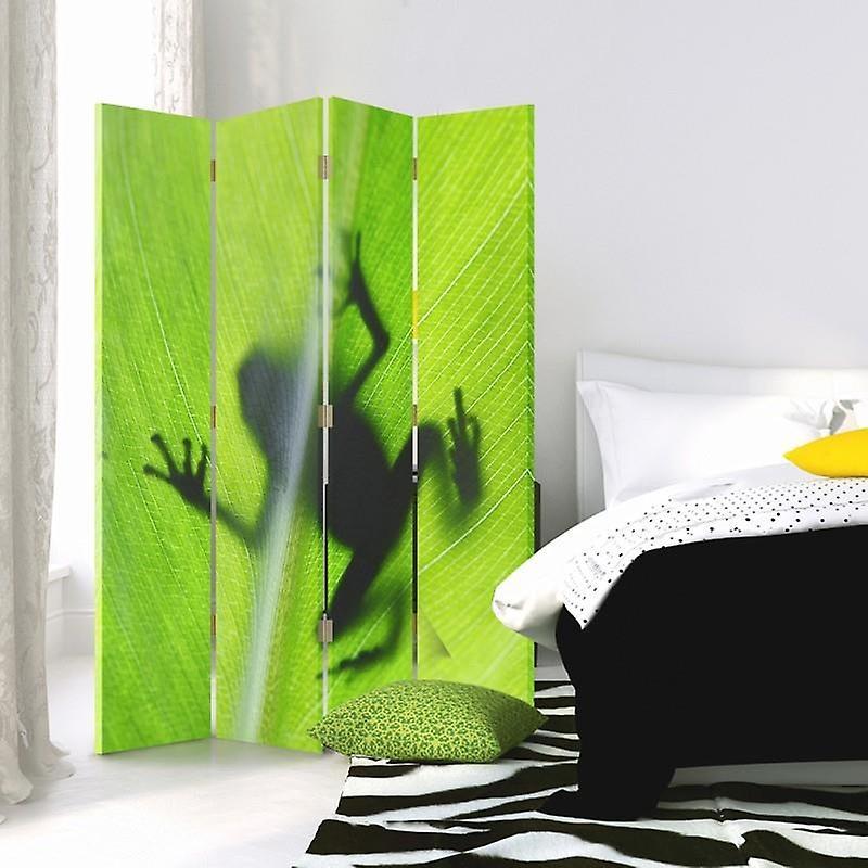 Diviseur de chambre, 4 panneaux, toile, grenouille verte sur une feuille