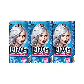 Schwarzkopf Live ultra brights 098 stål sølv semi-permanent Hair Dye 3 for 2