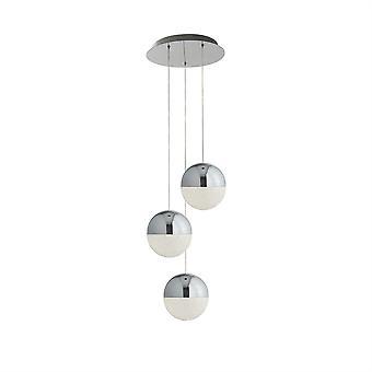 Søkelys klinkekuler integrert LED 3 lys klynge anheng krom 5842-3CC