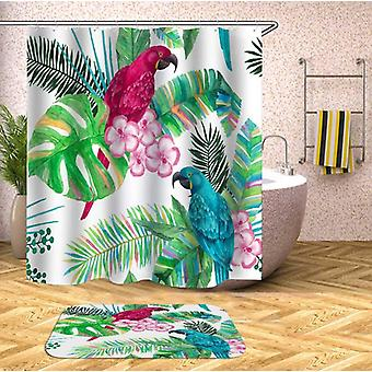 Colorful Parrot And Tropical Leaves Shower Curtain