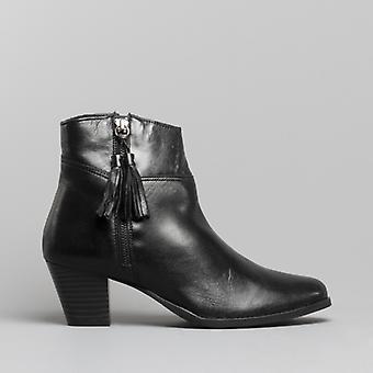 Comfort Plus Evian Ladies Leather Ankle Boots Black