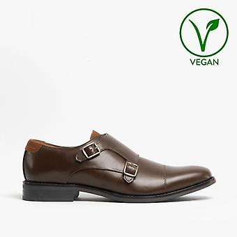 Mister Carlo Liam Mens Monk Strap Shoes Brown