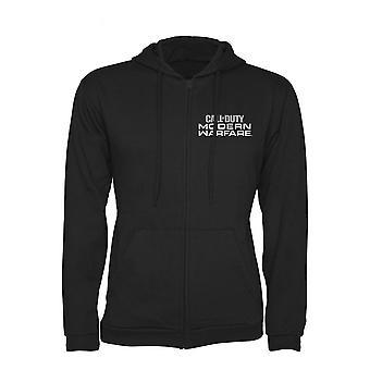 Call of Duty Modern Warefare Logo Full Length Zipper Hoodie Male Large Black