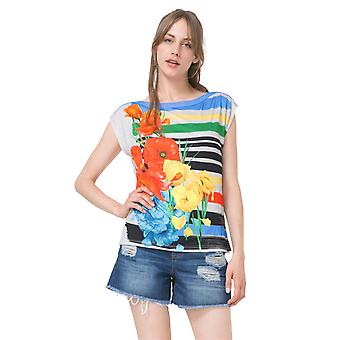 Desigual Women's Sarita Floral Striped Tshirt Top