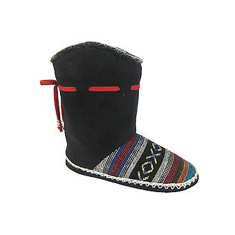 Coolers Womens Microsuede and Part Knitted Boot Slippers