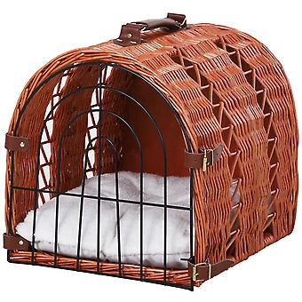 Natural Wicker Tunnel Cat Basket w/ Wire Gate Buckle Fastenings Plush Pillow Handle Easy Carry Portable Bed Cage Vets Travels Stylish Elegant 28x37cm