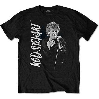 Rod Stewart mic stand positur Blood Red Roses offisiell T-skjorte
