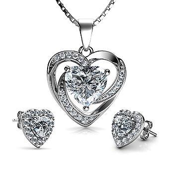 Luxury jewellery set crystal heart necklace & heart earrings dephini