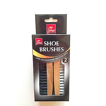 Hypätä Pack 2 kenkä harjat nahka kenkä kiillotus paistaa vahaus