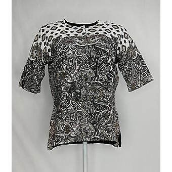 Isaac Mizrahi Live! Frauen's Pullover Paisley gedruckt Strickjacke grau A308019