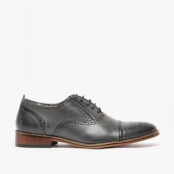 Goor Isaac Mens Pu Lace Up Oxford Brogue Chaussures Gris