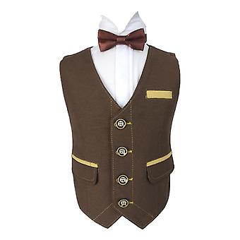 Flamingo Boys Coffee Brown Gold Textured Waistcoat